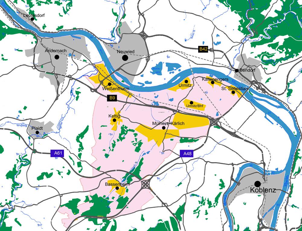 Mittelrheintal Karte.Verbandsgemeinde Weissenthurm Mittelrhein Touristik
